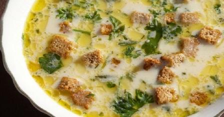 сирний суп з сухариками рецепт приготування