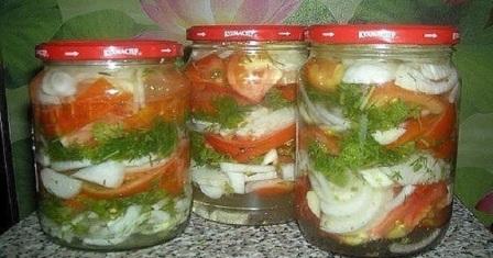 салат з помідорів на зиму рецепт приготування