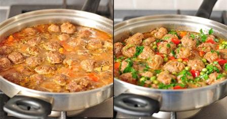 фрикадельки з овочевим рагу рецепт приготування