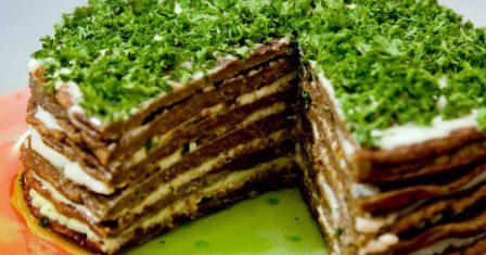 печінковий торт з часником рецепт приготування