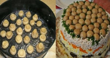 салат з куркою і грибами рецепт приготування