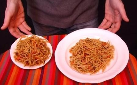 маленька і велика тарілки з їжею